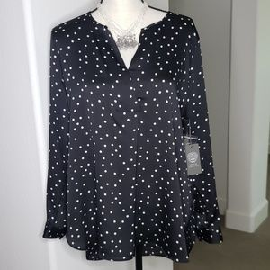 Vince Camuto Black and White long sleeve Blouse